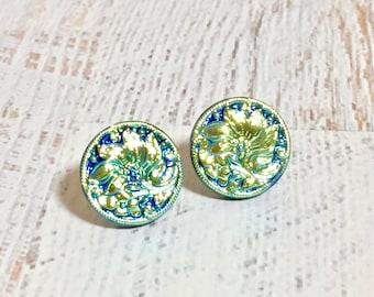 Czech Glass Studs, Blue Flower Earrings, Gold Flower Earrings, Iridescent Gold Daisy Studs on Blue, Gold Daisy Studs, Surgical Steel (GC)