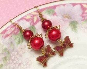 Red Bow Earrings, Vintage Assemblage Earrings, Red Pearl Earrings, Quirky Bow Earrings, Metal Charm Earring, Handmade By KreatedByKelly