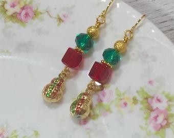Fancy Christmas Earrings, Holiday Jewelry, Red and Green Earrings, Enameled Metal Earrings, Christmas Ornament Earring, KreatedbyKelly (DE2)