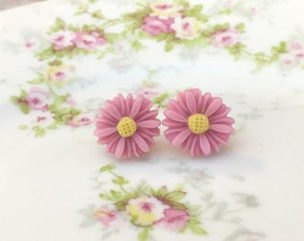 Lavender Gerbera Daisy Flower Stud Earrings with Yellow Centers and Surgical Steel Posts KreatedbyKelly