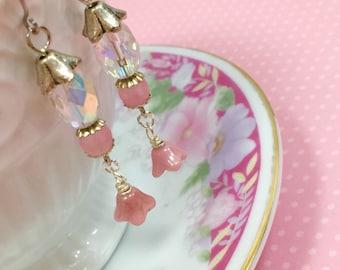 Long Pink Czech Glass Flower Beaded Dangle Earrings with Surgical Steel Ear Wires