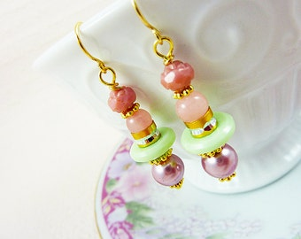 Pastel Earrings, Quirky Earrings, Lovely Pink Gilded Roses with Lavender Mint, Pretty Assemblage Jewelry