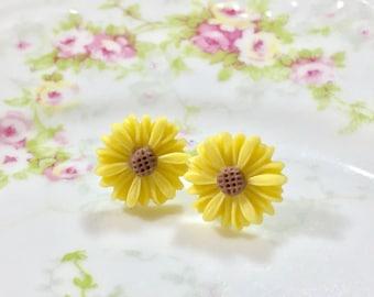 Yellow Flower Earrings, Yellow Daisy Studs,Bridesmaid Gift Earrings, Flower Post Earrings, Surgical Steel, KreatedByKelly (SE8)