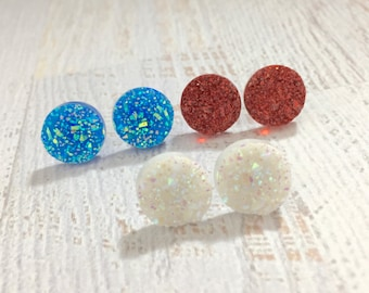 USA Patriotic Glittery Druzy Stud Earring Set in Red White and Blue with Surgical Steel Posts