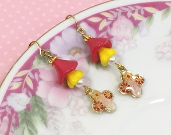 Red Flower Earrings, Czech Glass Flower Earrings, Flower Charm Drop Earrings, Assemblage Earrings, Yellow Flower, Handmade By KreatedByKelly
