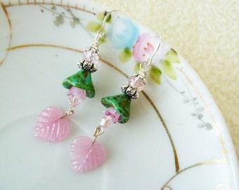 Flower Dangle Earrings, Czech Glass Earrings, Green Flower Earrings, Pink Leaf Earrings, Woodland Fairy Earrings, KreatedByKelly