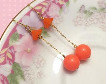 Retro Earrings, Orange Flower Earrings, Orange Ball Earrings, Funky Disco Earrings, Vintage Assemblage Earrings,KreatedByKelly DE4