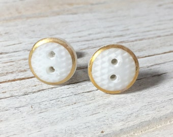 Bridal Button Studs, White Glass Studs, Shabby Wedding Earrings Made From Vintage Czech Glass Sewing Buttons in White with Gold Border (SE6)
