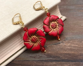 Large Red Czech Glass Flower Earrings with Gold Detailing and Gold Toned Leverback Ear Wires, KreatedbyKelly