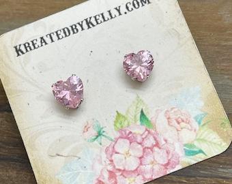 Pink Rhinestone Heart Stud Earrings in Surgical Steel Prong Settings, Cubic Zirconia, Bridal Weddings Valentine's Day, 8mm