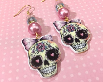 Girlie Day of the Dead Sugar Skull with Lavender Pink Bow Long Beaded Dangle Halloween Earrings with Surgical Steel Ear Wires (DE4)