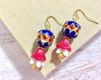 Enameled Metal Cloisonne Flower Dangle Drop Earrings in Patriotic Red White and Blue for 4th of July Independence Day