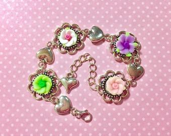 Pastel Floral Bracelet, Spring Flower Bracelet, Pink Daisy Bracelet, Silver Heart Bracelet, Lavender Rose Bracelet, Green Flower Bracelet