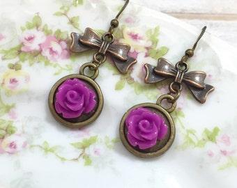 Purple Flower Earrings, Antique Brass Bow Earrings, Purple Rose Earrings, Estate Style Jewelry, Handmade By KreatedByKelly