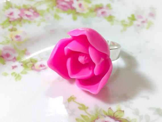 Pink Lotus Flower Ring Huge Pink Flower Ring Pink Flower Etsy