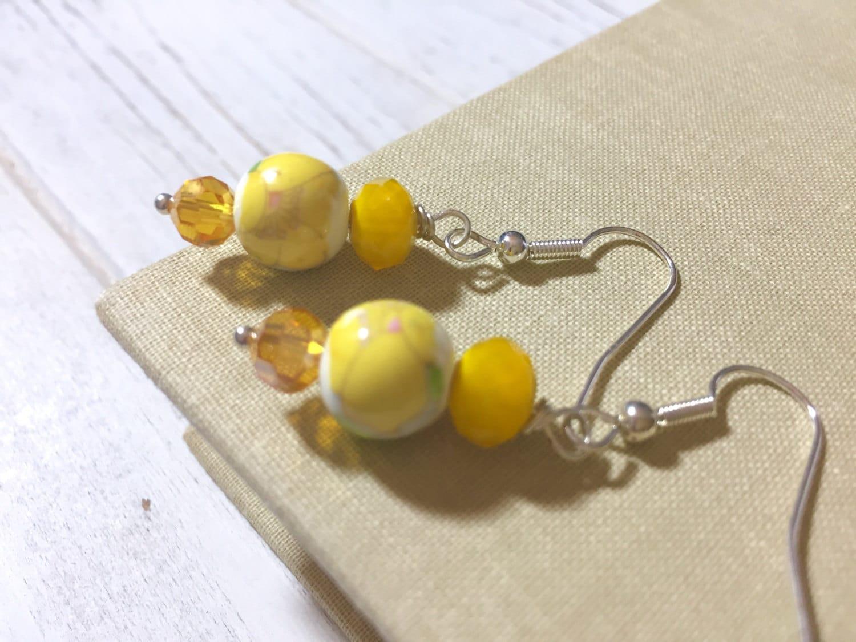 Yellow Flower Earrings Sunshine Yellow Earrings Floral Ceramic