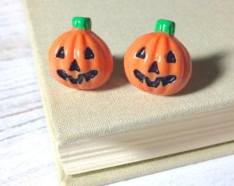 Pumpkin Stud Earrings, Halloween Earrings, Smiling Jack-o-Lantern Studs, Halloween Pumpkin Stud, Orange Pumpkin Studs, Surgical Steel (SE8)