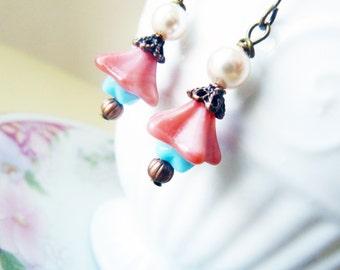 Pink Flower Earrings, Dangle Earrings, Woodland Earrings Pink Blue Pearl Copper, Petite Earrings, Handmade by KreatedByKelly