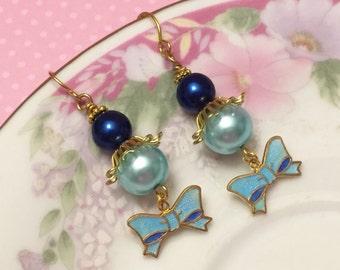Blue Bow Earrings, Vintage Assemblage Earrings, Blue Pearl Earrings, Quirky Bow Earrings, Metal Charm Earring, Handmade By KreatedByKelly