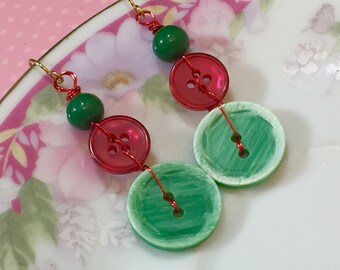 Stitched Button Earrings, Christmas Earrings, Holiday Jewelry, Vintage Buttons in Carved Minty Green and Iridescent Red, KreatedbyKelly