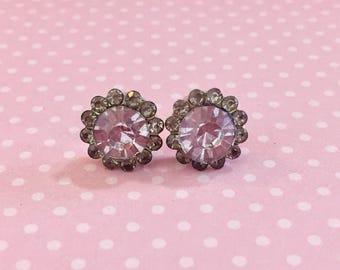Chunky Lavender Rhinestone Studs, Rhinestone Flower Studs, Lavender Glass Studs, Estate Style Earrings, Wedding Earrings