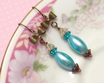 Blue Bow Earrings, Vintage Assemblage Earrings, Blue Pearl Earrings, Quirky Bow Earrings, Blue Flower Earring, KreatedByKelly