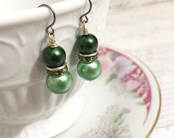 Green Pearl Earrings, Green Rhinestone Earrings, Green Pearl Drop Earrings, Short Dangle Earrings, St Patrick's Day Earrings, KreatedByKelly
