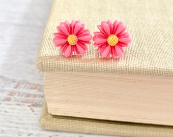 Little Peachy Pink Gerbera Daisy Stud Earrings with Surgical Steel Posts (SE18)