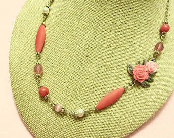 Asymmetrical Necklace, Pink Flower Necklace, Pink Beaded Necklace, Pink Rosary Style Chain, Nature Jewelry, KreatedByKelly