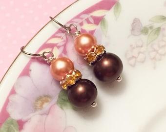 Peach Pearl Earrings, Brown Pearl Earrings, Yellow Rhinestone Earrings, Warm Color Drop Earrings, Affordable Jewelry, DE3
