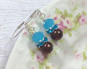 Blue and Brown Earrings, Brown Pearl Earrings, Rhinestone Earrings, Pearl Drop Earrings, Short Dangle Earrings, KreatedByKelly