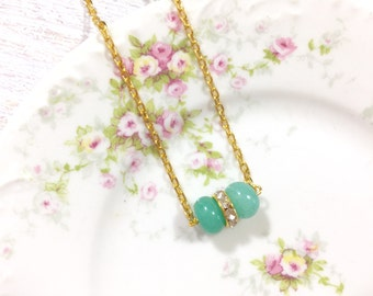 Minimalist Necklace, Simple Choker Necklace, Beaded Bar Layering Necklace, Aqua Dyed Jade Glass Beads and Rhinestones, KreatedbyKelly