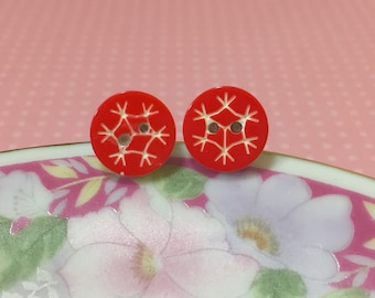 Snowflake Studs, Red Snowflake Stud Earrings, Button Studs, Christmas Studs, Surgical Steel Studs, Holiday Studs (SE2)