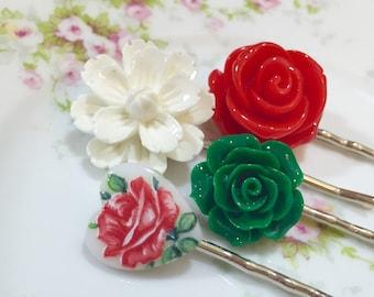Flower Hair Pins, Glass Cameo Bobby Pin, Flower Bobby Pins,  White Sakura Flower Bobby, Heart Bobby Pin, Red Rose Bobby