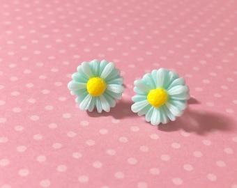 Aqua Daisy Studs, Aqua Daisy Earrings, Aqua Gerbera Daisy Studs, Surgical Steel Studs, Bridesmaid Stud Earrings, Aqua Flower Earrings (LB3)