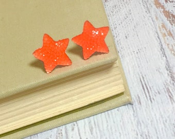 Bright Orange Faux Druzy Star Studs with Surgical Steel Posts (SE15)