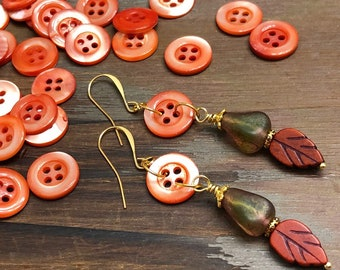 Vintage Mother of Pearl Button and Bead Earrings for Fall, Czech glass and Leaf in Orange, Green and Brown (DE1)