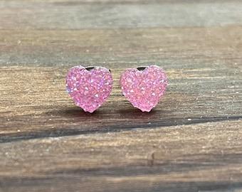 Tiny Light Pink Heart Earrings for Valentine's Day, Sparkly Faux Druzy Heart Earrings, Flower Girl Earrings, Stainless Steel (SE23)