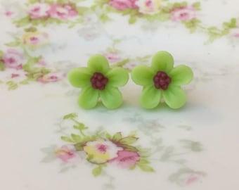 Lime Green Daisy Studs, Green Flower Earrings, Flower Girl Earrings, Sensitive Ear Studs, KreatedByKelly (SE3)