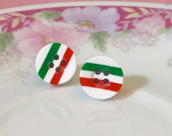 Christmas Studs, Red and Green Striped Earrings, Button Studs, Stainless Steel Studs, Holiday Jewelry (SE2)