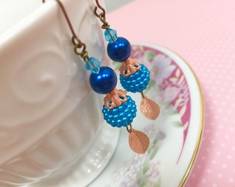 Blue Bead Earrings, Copper Leaf Earrings, Woodland Earrings, Whimsical Jewelry, Handmade KreatedByKelly