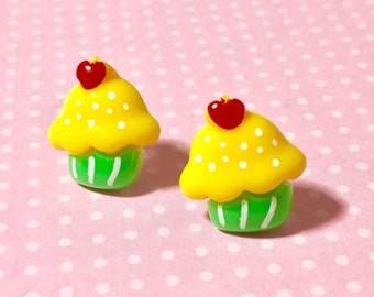 Yellow Cupcake Studs, Kitsch Cupcake Stud Earrings, Sweet Kawaii Food Earrings, Yellow Green Cupcake with Red Cherry on Top (LB5)