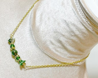 St. Patrick's Day Necklace, Green Czech Glass Beaded Bar Layering Necklace with Gold Toned Accents and Chain (MN1)