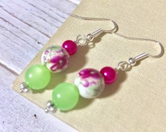 Floral Ceramic Bead Earrings, Pretty Pink Flower Earrings with Lime Green Moonglow Bead, Simple Dangle Earrings, Handmade by KreatedByKelly