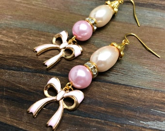 Pretty Pink Lolita Bow and Pearl Rhinestone Dangle Earrings with Surgical Steel Ear Wires