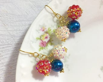 Sparkling Resin Rhinestone and Pearl Cluster Dangle Earrings in Patriotic Red White and Blue for 4th of July Independence Day