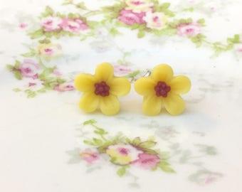 Yellow Daisy Studs, Yellow Flower Earrings, Small Yellow Flower Studs, Surgical Steel Studs, KreatedByKelly (SE3)