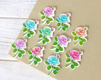 Printed Wood Rose Flower Buttons, Cottage Chic Scrapbook Embellishment, Pastels on White, 2 Hole Sewing Buttons, 30mm x 23mm, 10 pieces, RO3