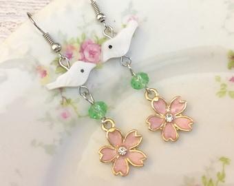 Pretty Vintage Style Pastel Assemblage Earrings Mother of Pearl Birds Pink Sakura Flowers KreatedbyKelly