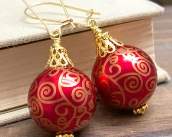 Christmas Ornament Earrings with Surgical Steel Kidney Ear Wires